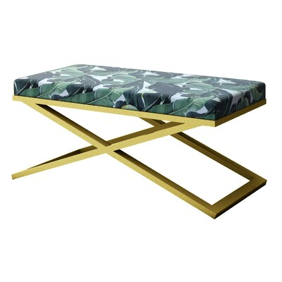 """Ahumada X-Base Upholstered Bench Size: 22"""" H x 48"""" W x 24"""" D, Color: Gold"""