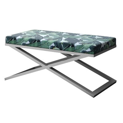 """Ahumada X-Base Upholstered Bench Size: 22"""" H x 48"""" W x 24"""" D, Color: Silver"""