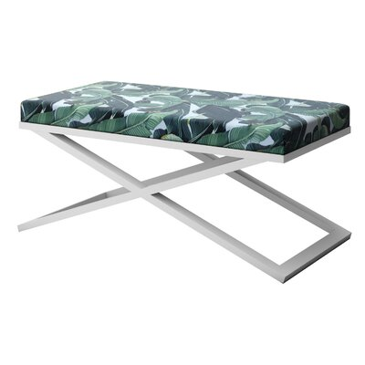 """Ahumada X-Base Upholstered Bench Size: 22"""" H x 48"""" W x 24"""" D, Color: White"""