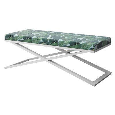 """Ahumada X-Base Upholstered Bench Color: White, Size: 22"""" H x 60"""" W x 24"""" D"""