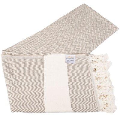 Zigzag Pattern 100% Cotton Beach Towel Color: Brown