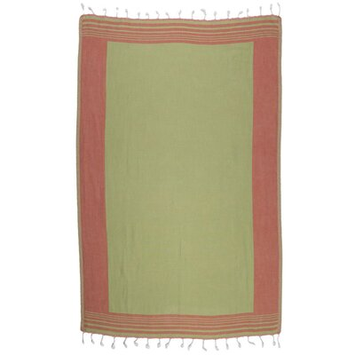 100% Cotton Beach Towel Color: Brick Red/Green