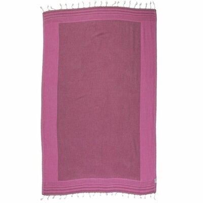 100% Cotton Beach Towel Color: Burgundy/Pink