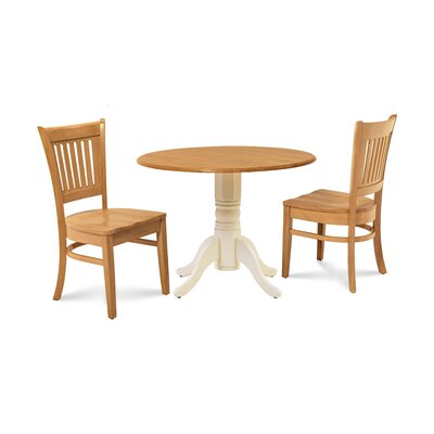 Thor 3 Piece Drop Leaf Dining Set Table Base Color: Buttermilk, Chair Color: Oak, Table Top Color: Oak