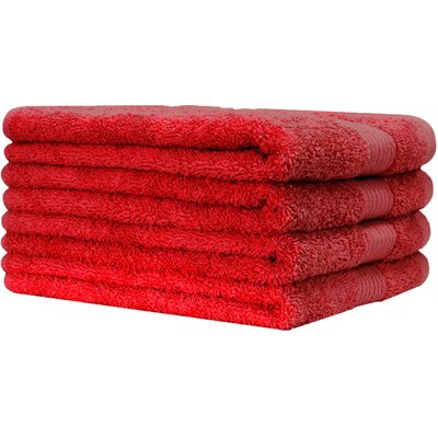 4 Piece 100% Cotton Hand Towel Set Color: Tango Red