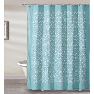 Almanza Tile Cotton Shower Curtain Color: Aqua