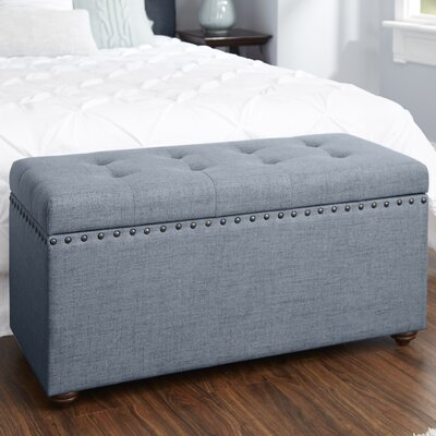 Adeline Nail Head Upholstered Storage Bench Upholstery: Dark Gray