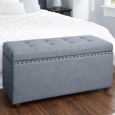 Adeline Nail Head Upholstered Storage Bench Upholstery: Dark Gray