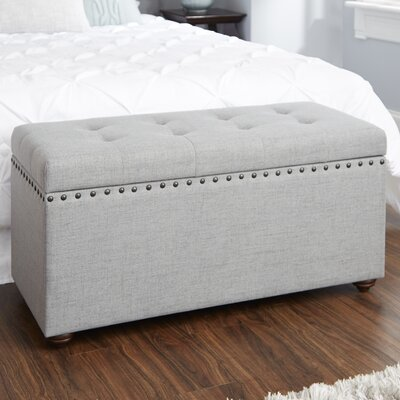 Adeline Nail Head Upholstered Storage Bench Upholstery: Light Gray