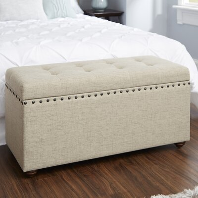 Adeline Nail Head Upholstered Storage Bench Upholstery: Tan