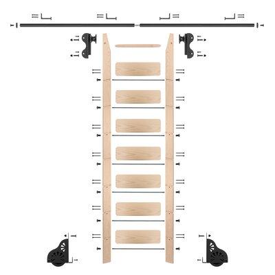8 Ft Maple Braking Rolling Hook Ladder with Rail Kit Rail Finish: Black, Rail Length: 12 Ft, Mounting Bracket Style: Horizontal