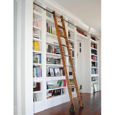 9 Ft Red Oak Braking Rolling Hook Ladder with Rail Kit Rail Finish: Black, Rail Length: 8 Ft, Mounting Bracket Style: Horizontal