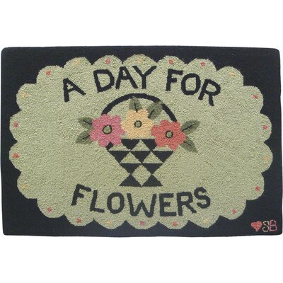 Susan Branch Home A Day For Flowers Green Area Rug