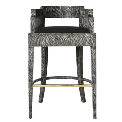 Accent Stool Seat Color: Black, Frame Color: High Lacquered - Bleached