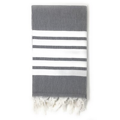 Luxury Pestemal Fouta 100% Cotton Beach Towel Color: Charcoal