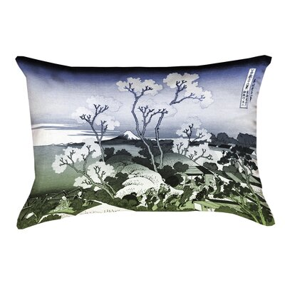 Clair Japanese Cherry Trees Indoor Rectangular Lumbar Pillow Color: Blue/Green