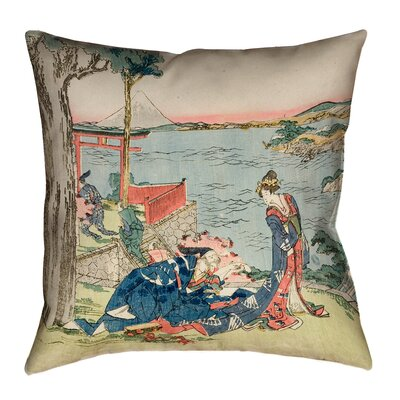 "Enya Japanese Courtesan Waterproof Throw Pillow Size: 16"" x 16"""