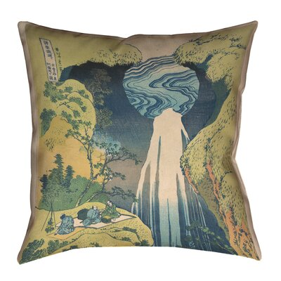 "Rinan Japanese Waterfall Suede Throw Pillow Size: 16"" x 16"""