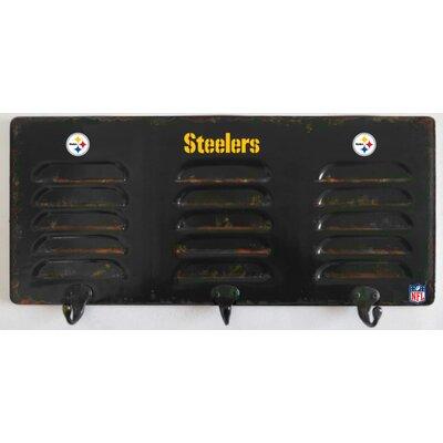NFL 3 Hook Metal Locker Coat Rack NFL Team: Pittsburgh Steelers