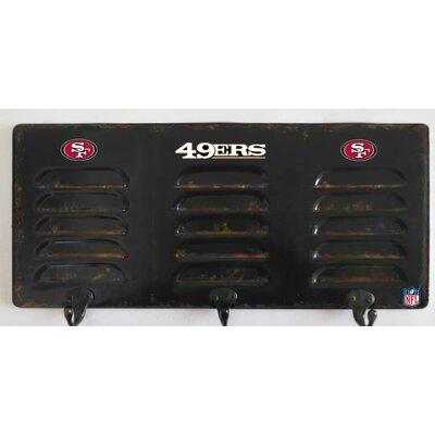 NFL 3 Hook Metal Locker Coat Rack NFL Team: San Francisco 49ers