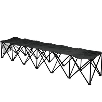6 Seater Sideline Bench Portable Outdoor Metal Folding Chair Color: Black