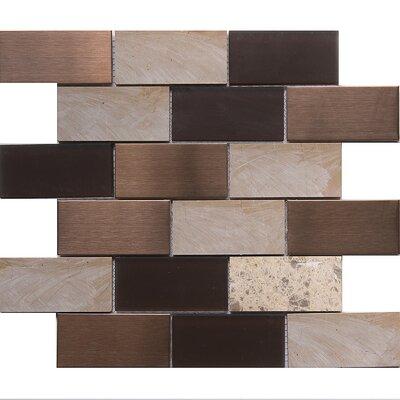 """Tetris Cordoba 2"""" x 4"""" Glass/Stone Mosaic Tile in White/Chocolate"""