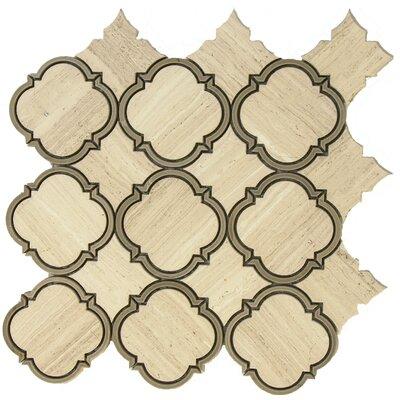 Water Jet Harmony Random Sized Marble Mosaic Tile in White Oak