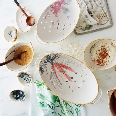 Watercolor Design Porcelain Colander
