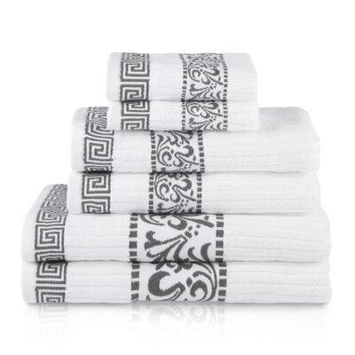 6 Piece 100% Cotton Towel Set Color: Gray