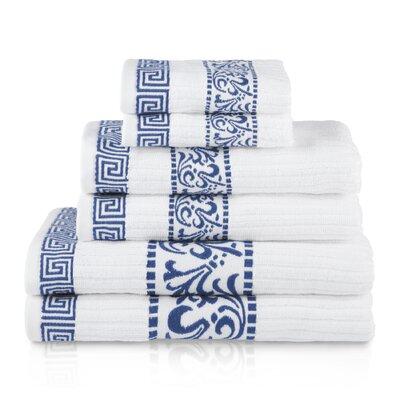 6 Piece 100% Cotton Towel Set Color: Navy Blue