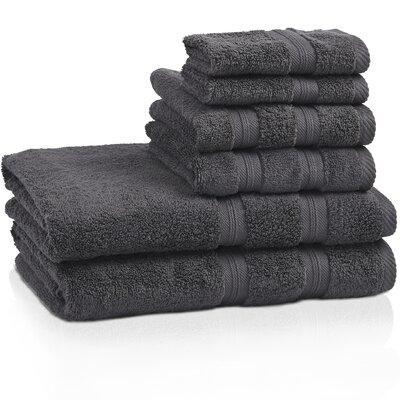 Smart 6 Piece 100% Cotton Towel Set Color: Gray