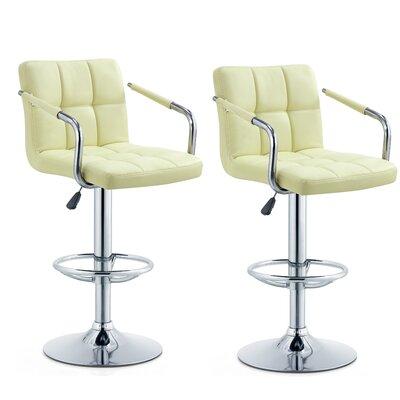 Anisha Adjustable Height Swivel Bar Stool Seat Color: Cream
