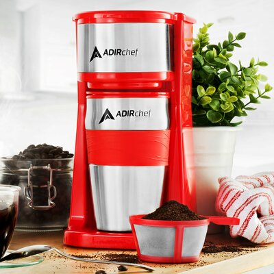 Grab and Go Personal Coffee Maker with 15 oz. Travel Mug Color: Rose Red