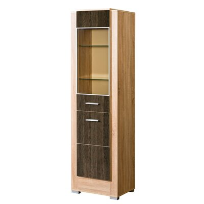 Drews Glass 2 Drawer Accent Cabinet Color: Brown