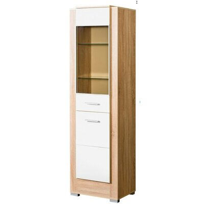 Drews Glass 2 Drawer Accent Cabinet Color: White