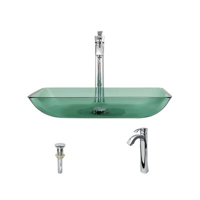Glass Rectangular Vessel Bathroom Sink with Faucet Faucet Finish: Chrome, Sink Finish: Emerald