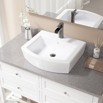 Specialty Vitreous China Specialty Vessel Bathroom Sink with Faucet and Overflow Faucet Finish: Antique Rubbed Bronze, Sink Finish: White