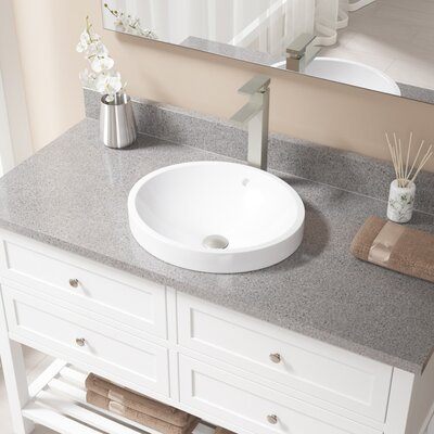 Vitreous China Circular Vessel Bathroom Sink with Faucet and Overflow Faucet Finish: Brushed Nickel, Sink Finish: White
