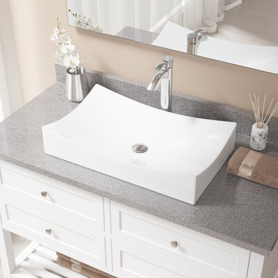 Vitreous China Rectangular Vessel Bathroom Sink with Faucet Faucet Finish: Chrome, Sink Finish: White