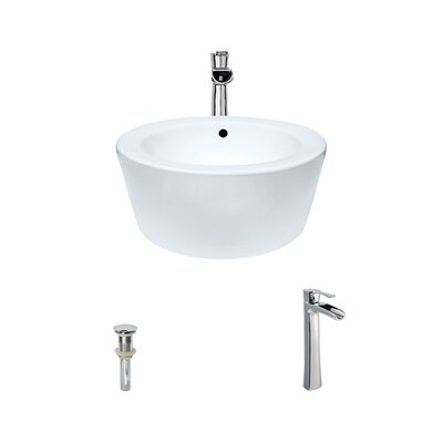 Vitreous China Circular Vessel Bathroom Sink with Faucet and Overflow Faucet Finish: Chrome, Sink Finish: White
