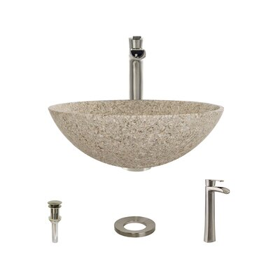 Stone Circular Vessel Bathroom Sink with Faucet Faucet Finish: Brushed Nickel, Sink Finish: Tan