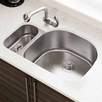 "Stainless Steel 32"" L x 21"" W Double Basin Undermount Kitchen Sink Stainless Steel Thickness: 16-Gauge"