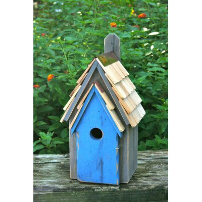 Manor 16 in x 8 in x 8 in Bluebird House Color: Grey / Blue Door