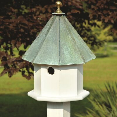 Oct-Avian 19 in x 11 in x 11 in Birdhouse Finish: White with Verdi Copper Roof