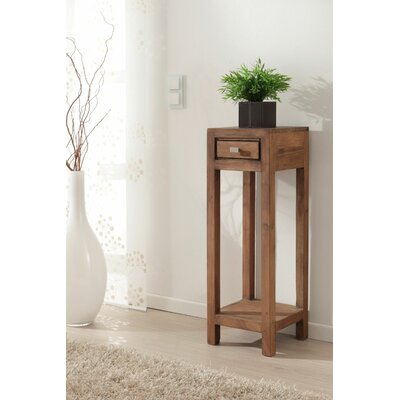 "Feeley Corner Telephone Table Wood Color: Stone, Size: 23.5"" H x 11.5"" W x 11.5"" D"