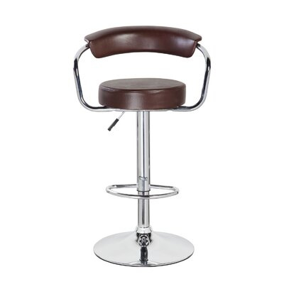 Levick Adjustable Height Swivel Bar Stool Upholstery: Mocha Brown