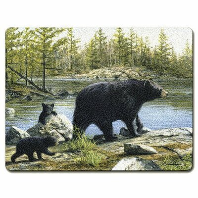 Bear Mom and Kids Glass Cutting Board