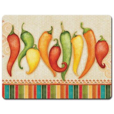 Chili Peppers Glass Cutting Board