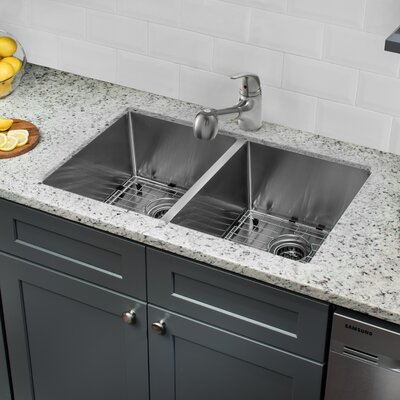 "32"" L x 19"" W Double Basin Undermount Kitchen Sink with Faucet and Soap Dispenser"