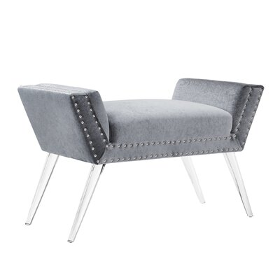 Selznick Upholstered Bench with Acrylic Leg Upholstery: Silver